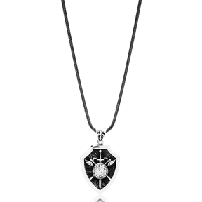 Sword And Shield Charm Flat Curbed Chain Wholesale Handmade 925 Sterling Silver Men Necklace