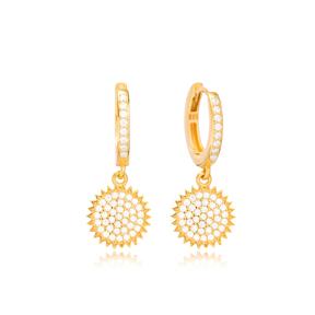 Sunflower Design Ø10 Hoop Earring Turkish Wholesale Handmade 925 Sterling Silver Jewelry
