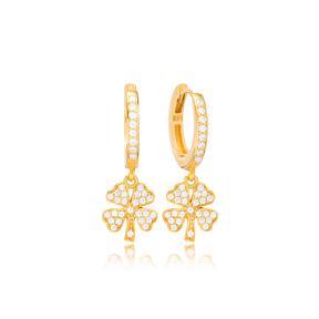 Four Leaf Clover Design Ø10 Hoop Earring Turkish Wholesale Handmade 925 Sterling Silver Jewelry
