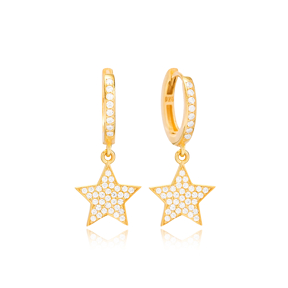 Bright Star Design Ø12 Hoop Earring Turkish Wholesale Handmade 925 Sterling Silver Jewelry