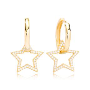 Giant Star Design Ø21 Hoop Earring Turkish Wholesale Handmade 925 Sterling Silver Jewelry