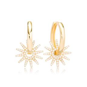 Lovely Sun Design Ø21 Hoop Earring Turkish Wholesale Handmade 925 Sterling Silver Jewelry
