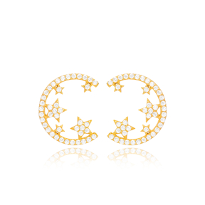 Crescent With Stars Design Stud Earring Turkish Wholesale Handmade 925 Sterling Silver Jewelry