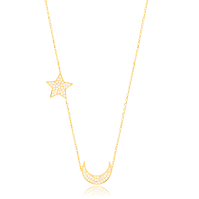Crescent And Star Charm Pendant Turkish Wholesale Handcrafted 925 Sterling Silver Jewelry