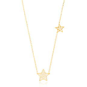 Sparkling Stars Charm Pendant Turkish Wholesale Handcrafted 925 Sterling Silver Jewelry