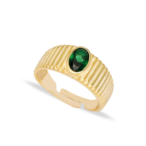 Little Finger Adjustable Ring Oval Shape Emerald Stone Design Wholesale 925 Silver Sterling Jewelry