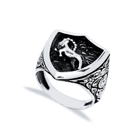 Capricorn Zodiac Design Men Signet Ring Wholesale Handmade 925 Sterling Silver Men Jewelry
