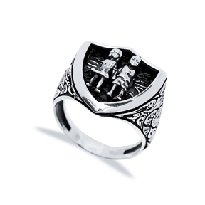 Gemini Zodiac Design Men Signet Ring Wholesale Handmade 925 Sterling Silver Men Jewelry