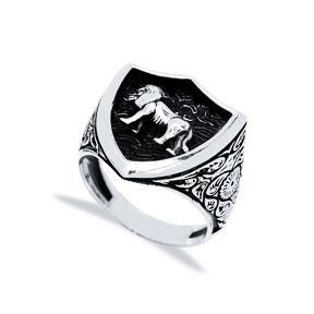 Leo Zodiac Design Men Signet Ring Wholesale Handmade 925 Sterling Silver Men Jewelry
