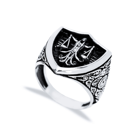 Libra Zodiac Design Men Signet Ring Wholesale Handmade 925 Sterling Silver Men Jewelry