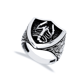 Scorpio Zodiac Design Men Signet Ring Wholesale Handmade 925 Sterling Silver Men Jewelry