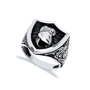 Pisces Zodiac Design Men Signet Ring Wholesale Handmade 925 Sterling Silver Men Jewelry