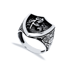 God Of The Sea Design Men Signet Ring Wholesale Handmade 925 Sterling Silver Men Jewelry