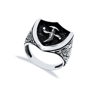 Ancient Knife And Sheath Design Men Signet Ring Wholesale Handmade 925 Sterling Silver Men Jewelry