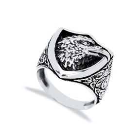 Royal Eagle Design Men Signet Ring Wholesale Handmade 925 Sterling Silver Men Jewelry