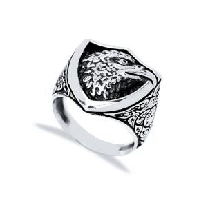 Royal Eagle Design Men Signet Ring Wholesale Handmade 925 Sterling Silver Men Jewelry