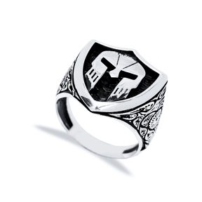 Ancient Helmet Design Men Signet Ring Wholesale Handmade 925 Sterling Silver Men Jewelry