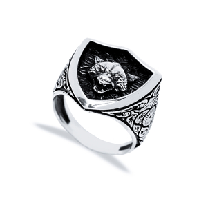 Lone Wolf Design Men Signet Ring Wholesale Handmade 925 Sterling Silver Men Jewelry