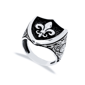 Fleur-De-Lis Symbol Design Men Signet Ring Wholesale Handmade 925 Sterling Silver Men Jewelry