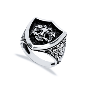 Double Eagle Design Men Signet Ring Wholesale Handmade 925 Sterling Silver Men Jewelry