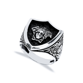 Medusa Head Design Men Signet Ring Wholesale Handmade 925 Sterling Silver Men Jewelry