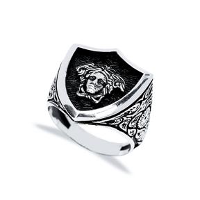 Medusa Head Design Men Signet Ring Wholesale Handmade 925 Sterling Silver Men Jewelry