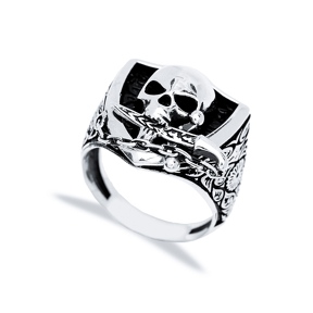 Skull With Sword Design Men Signet Ring Wholesale Handmade 925 Sterling Silver Men Jewelry