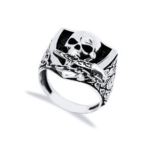 Skull With Sword Design Men Signet Ring Wholesale Handmade 925 Sterling Silver Men Jewelry