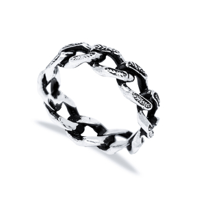 Handsome Link Chain Men Ring Wholesale Handmade 925 Sterling Silver Men Jewelry