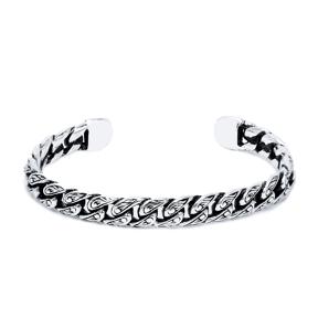 Cuban Curb Chain Men Bangle Wholesale Handmade Turkish 925 Sterling Silver Cuff Jewelry