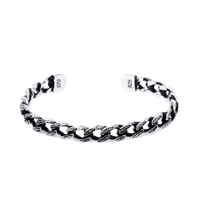 Link Chain Men Bangle Wholesale Handmade Turkish 925 Sterling Silver Cuff Jewelry