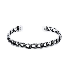 Link Chain Men's Bangle Wholesale Handmade Turkish 925 Sterling Silver Cuff Jewelry