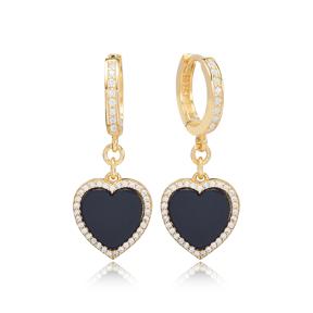 Black Onyx Heart Design Zircon Stone Dangle Earrings Turkish Wholesale Sterling Silver Jewelry