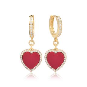 Red Stone Heart Design Zircon Stone Dangle Earrings Turkish Wholesale Sterling Silver Jewelry