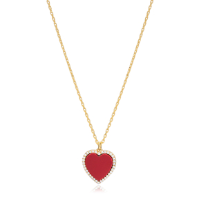 Red Stone Heart Zircon Stone Charm Necklace Wholesale Turkish 925 Sterling Silver Jewelry