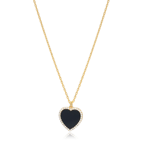 Black Onyx Heart Zircon Stone Charm Necklace Wholesale Turkish 925 Sterling Silver Jewelry