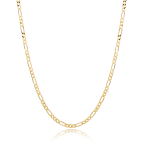 Long Short Figaro Chain Necklace Wholesale Turkish 925 Sterling Silver Jewelry