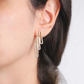 Unique Geometric Design Zircon Stone Silver Stud Earrings Wholesale Turkish Sterling Silver Jewelry