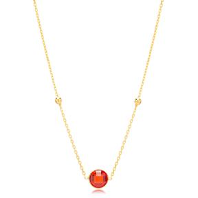 Garnet Stone Charm Trendy Design Pendant Turkish Handmade 925 Sterling Silver Jewelry
