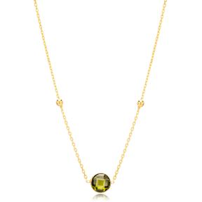 Peridot Stone Charm Trendy Design Pendant Turkish Handmade 925 Sterling Silver Jewelry