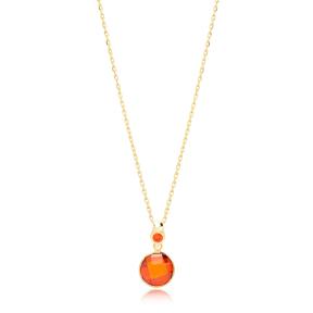 Orange Quartz Stone Charm Trendy Design Pendant Turkish Handmade 925 Sterling Silver Jewelry