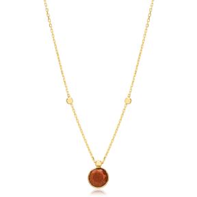 Glitter Agate Stone Charm Trendy Design Pendant Turkish Handmade 925 Sterling Silver Jewelry