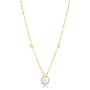 Zircon Stone Charm Trendy Design Pendant Turkish Handmade 925 Sterling Silver Jewelry