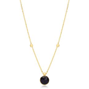 Glitter Onyx Stone Charm Trendy Design Pendant Turkish Handmade 925 Sterling Silver Jewelry