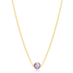 Amethyst Stone Charm Elegant Link Chain  Pendant Turkish Handmade 925 Sterling Silver Jewelry