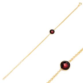Dark Garnet Design Charm Thin Bracelet Turkish Wholesale Handmade 925 Sterling Silver Jewellery