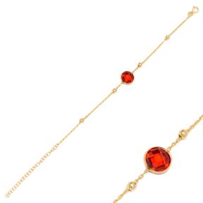 Garnet Stone Design Charm Thin Bracelet Turkish Wholesale Handmade 925 Sterling Silver Jewelry