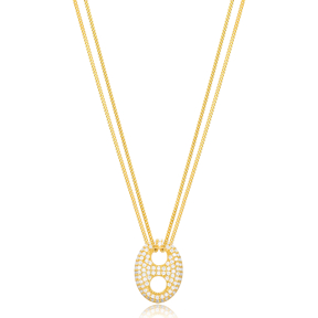 Chic Oval Shape Charm Short  Double Chain Pendant Wholesale Turkish 925 Sterling Silver Jewelry