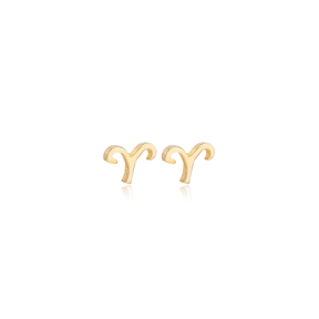 Aries Zodiac Mini Stud Earring Turkish Handmade 925 Sterling Silver Jewelry