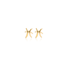 Pisces Zodiac Mini Stud Earring Turkish Handmade 925 Sterling Silver Jewelry